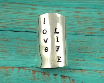 Hand Stamped Spoon Ring Love Life Your Size MR0501-BSLL