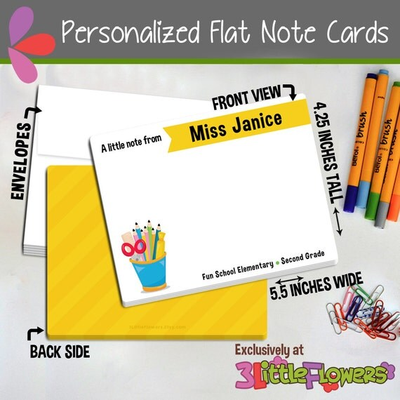 Executive College Stationery Note Cards: Set Of Personalized Note Cards