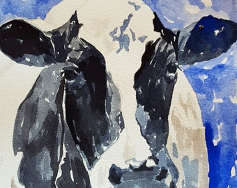 Cow Print Cow art Print of original watercolor painting 8.5 x 11 paper size Black and white cow art Print Holstein cow print Cow watercolor