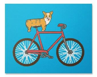 Corgi Art Print / Bike Print / Bicycle Print / Corgi Wall Art / Dog Print / Home Decor / 8 x 10