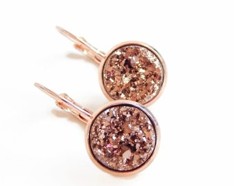 Rose gold druzy earrings set in plated rose gold