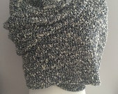 Cotton and wool cream and navy blue lacy wrap wide scarf shawl