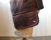 Furry Russian XS: russian hat in earthtones, trapper hat, warm hat made from recycled materials for boy or girl, brown plaid winter hat