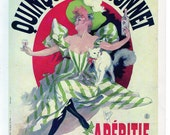 French Poster - Quinquina Dubonnet 1895 by Cheret Apertif Advertisement Woman with Cat 1968 Reproduction Print 8-1/2 x 12