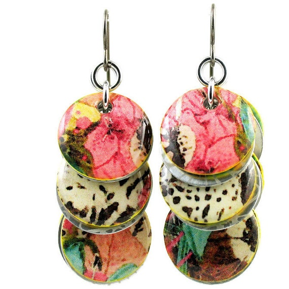 Custom Handcrafted Tropical Floral Circle Dangle Earrings