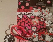 Love mini scrapbook album kit, black  red and white  smash book, stickers included, wedding anniversary