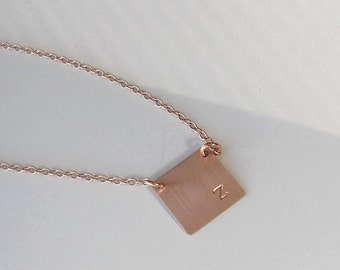Square Initial Necklace, Rose Gold Initial Necklace, Personalized Necklace, Handstamped Necklace, Square Charm, Modern gift