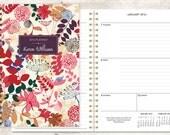 2016 planner 12 month calendar | custom weekly student planner | personalized planner agenda daytimer | purple pink floral pattern
