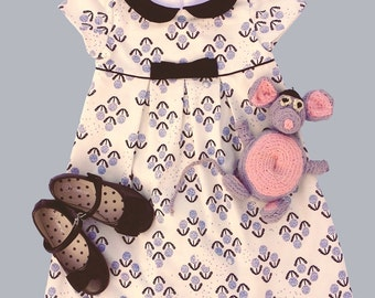 """GIRLS DRESS pattern or girls BLOUSE pattern, sized to fit ages 3-8, """"The Mia & Moi Pattern"""""""