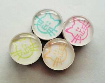 NEON CATS Glass Bubble Marble Magnets - Set of 4 - Home Office School Decor