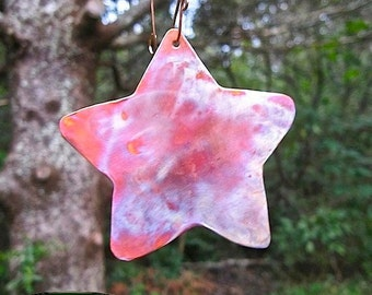 Large Copper Star, Metal Christmas Ornament, Primitive Metal Star, Rustic Holiday Decor, Hand Forged Metalwork, Advent Decoration