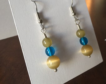 READY TO SHIP: Green and Blue Glass Bead Earrings, Earth Tones, Handmade Jewelry, Dangle Earrings