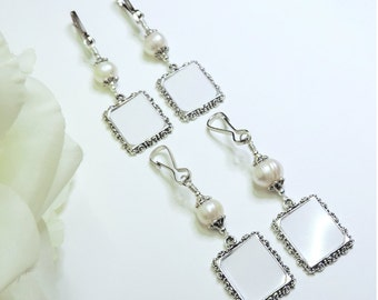 Wedding bouquet and memorial photo charms x4. Bridal bouquet charms, Freshwater pearl set of 4. Bridal shower gift for the bride. 4x charms.