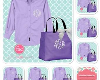 7 bridesmaid oxford shirts and 7 tote bag gift set/ bridesmaid gifts / bridal party gifts / getting ready shirts/ bridesmaid tote bag