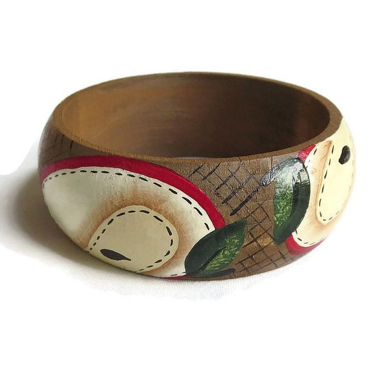 Artisan Hand Painted Wood Bangle Bracelet by MyVintageJewels