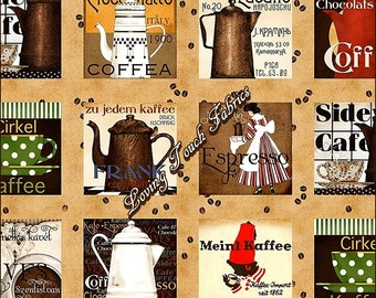 """18 Blocks Daily Grind QT #21672-A Kitchen Coffee Pots Words Cotton Fabric Priced Per Panel 23 1/2"""" x 44"""""""