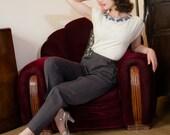 1940s Vintage Pants - Versatile Deep Grey Gabardine High Waist 40s Slacks with Pockets and Dropped Belt Loops