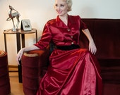 Vintage 1940s Dressing Gown - Glamorous Berry Red Rayon Satin 40s Hostess Gown with Long Hidden Zipper and Golden Buttons