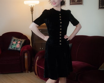 Vintage 1930s Dress - Sultry Black Silk Velvet Late 1930s Dress with Peaked Shoulders, Brass Buttons and Hip Pockets