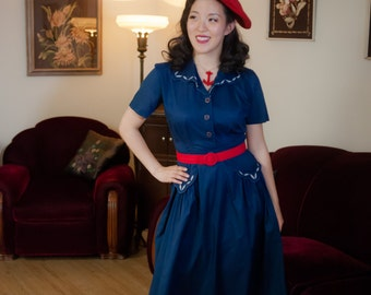 Vintage 1940s Dress - Darling Navy Blue and White Shirtwaist 40s Day Dress in Lightweight Cotton Silk Blend