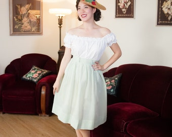 Vintage 1950s Dress - Fresh Green and White Semi Sheer Nylon 50s Skirt with Textured Windowpane Print