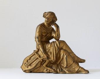 Classical Maiden Clock Topper, Salvaged Antique Clock Top, Gilded Mantle Clock Topper, Maiden with Lyre Statue, Golden Clock Embellishment