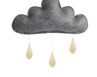 Spring Cloud mobile.Charcoal grey with gold raindrops by The Butter Flying-Rain Cloud Mobile Nursery Children Decor