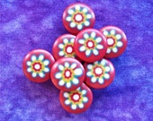 Shank Buttons with Daisies 15mm - 5/8 inch Millefiori Daisy Flower Plastic Buttons on Red - 8 VTG NOS Bursting Vintage Floral Buttons PL192