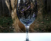 Wine Glass Hand Painted, Zentangle Design,  20 oz Clear Jumbo Wine Glass, Black and a Touch of Purple