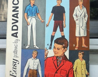 Advance 3899 - Vintage Ken Doll Wardrobe - Shirts, Pants, Pajamas, Suit, Jacket, Bathrobe, Shorts - 1960s - Fashion Doll DIY Sewing Pattern