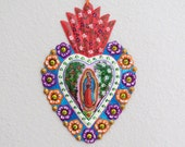 """Stunning 7.5"""" GUADALUPE Hand Painted Milagro- Perfect for your collection and vibrant"""