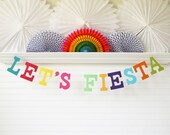 Let's Fiesta Banner - 5 inch Letters -  Fiesta Birthday Decoration Fiesta Birthday Party Banner Cinco De Mayo Banner Bright Party Decoration