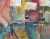 Black Lives Matter Watercolor Print, African American Art, Contemporary Art, Home Decor Art, Living Room Art, Black Art, Black Lives Matter