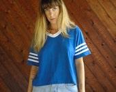 Varsity Blues SS Cropped Athletic Baseball Tee T Shirt - Vintage 80s - S M