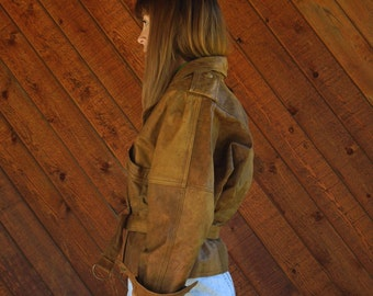 Brown Leather Aviator Crop Jacket with Tie Front - Vintage 80s - S M