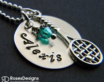 Personalized Handstamped Tennis Necklace, Sterling Silver, Tennis Jewelry, Tennis Gifts, by RosesDesigns