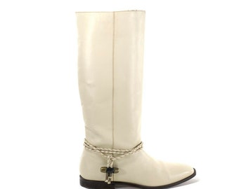 White Leather Boots Ivory Cream Knee High Tall Flat Boot Size 7.5