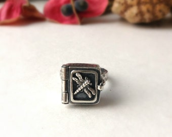 pill box ring,  sterling silver, size 6.5, dragonfly ring, poison ring,ring of secrets, bohemian, gypsy ring, ready to ship