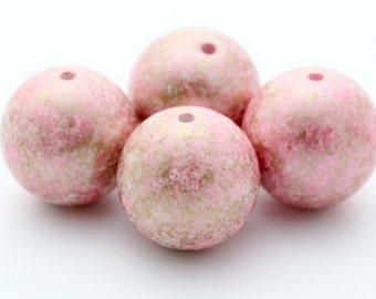 Vintage Beads Pink White Gold Wash Lucite Round Chunky 26mm (4)