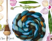 SHORELINE - Custom Blend Merino and Mulberry Silk Combed Top Wool Roving for Spinning or Felting in bright colors - 4 oz