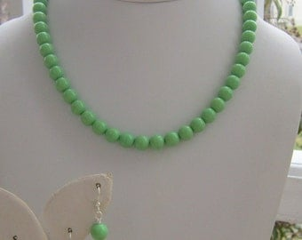 Mint Green Jewelry, Gift for Bridesmaids, Green Bridesmaids Jewelry, Green Necklace Set, Gifts for Her, Spring Green Jewelry, Thin Mint
