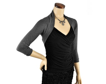 Eco-Friendly Bamboo Shrug Bolero - Heather Grey 3/4 Sleeve