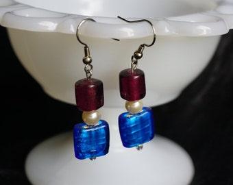 Purple and Blue Drop Earrings