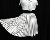 Vintage 60s 70s Micro Mini Tennis Skirt Skate Fit Flare Off White Ticking Stripes Pleated Nylon Lolita High Quality XS S Small