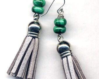 Malachite Earrings, Grey Tassel Earrings, Trendy Tassel Earrings, Sterling Silver Ear wire Earrings, Green Earrings, Grey Earrings by Anna