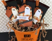 KIT Ghostly Halloween Candy Bar Wrap and Tag / Hershey Candy Bar / Party Favor/ Teacher Appreciation / Game Prize / Classroom Treat