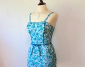 vintage 1960's playsuit // rare swimsuit one piece romper // mod kelly green daisy print