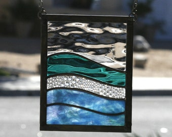 SEA DREAMS SUNCATCHER - Abstract Stained Glass Panel, Sun Catcher, Stain Glass, Ocean, Sea, Nautical, Blue, Green, Purple, Ready to Ship