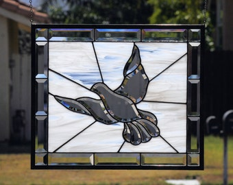 PEACE - Large Stained Glass Window Panel, Clear Beveled Dove, Stain Glass, Clear Bevels, Hope, Peace, Religious, Spiritual, Ready to Ship