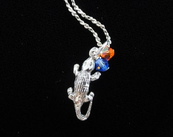 Florida Gators Necklace-  Sterling Silver Alligator Charm with Orange & Blue Beads Pendant, 18 Inch Chain, Florida Necklace Game Day Jewelry
